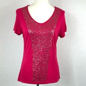 By Chico's Raspberry Sequins Front SS Top Sz 0